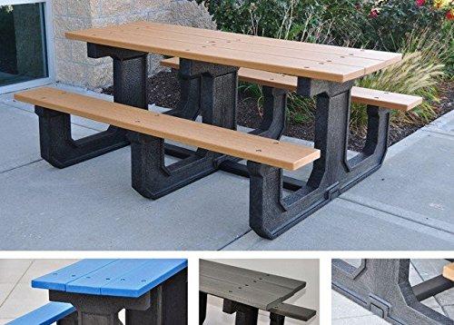 Jayhawk Plastics Park Place Recycled Plastic Picnic Table - 8L - Ada Compliant - Gray - Gray