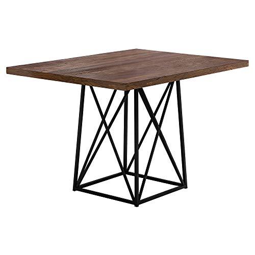Monarch Specialties 1107 Dining Table Metal 36 x 48 Brown Reclaimed Wood-LookBlack Base