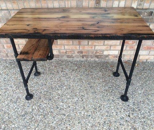 Reclaimed Wood Desk Table - Rustic Solid Oak W28 Black Iron Pipe legs