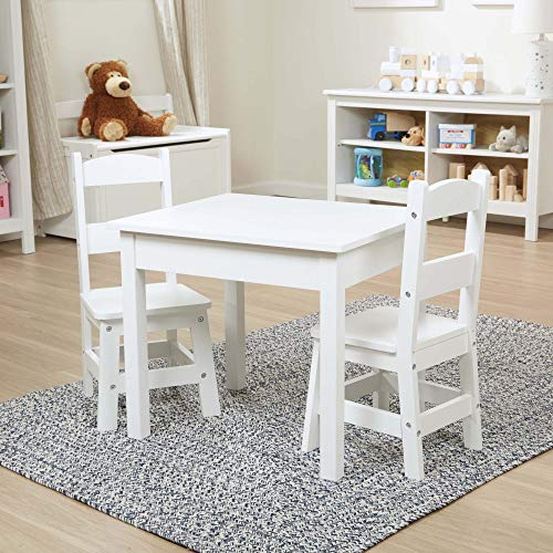 Melissa Doug Solid Wood Table Chairs Sturdy Wooden Construction 100-Pound Capacity Easy to Assemble 3-Piece Set 20 W x 235 H x 205 L