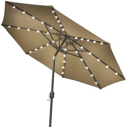 Strong Camel 9new Solar 40 Led Lights Patio Umbrella Garden Outdoor Sunshade Market-taupe