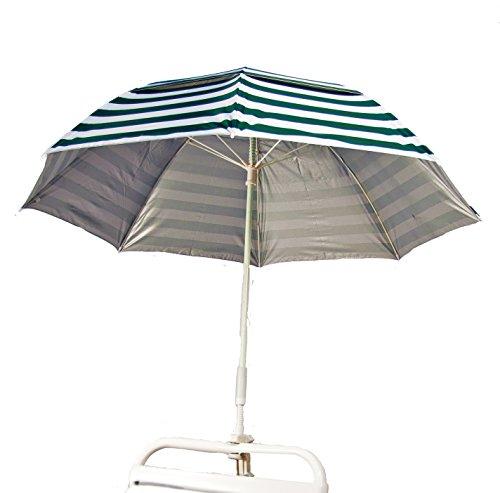 Clamp-on Fiberglass Beach  Rain Umbrella W Vent Upf 50 - Forest Green Stripe Outside