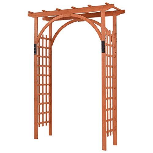 Giantex Premium Outdoor Wooden Cedar Arbor Arch Pergola Trellis Wood Garden Yard Lattice