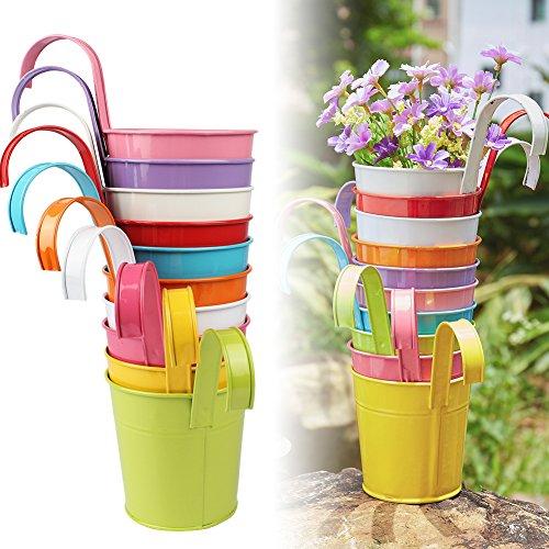 Bloom This Autumn - Aerwo 10pcs Hanging Flower Pots Metal Iron Bucket Garden Planter Plant For Outdoor Indoor
