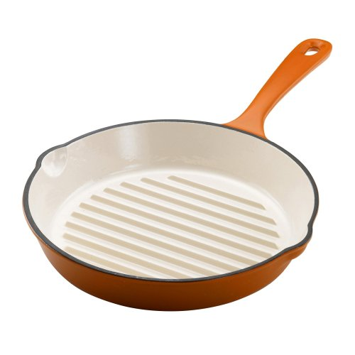 Rachael Ray 11-Inch Cast-Iron Round Grill Pan Orange