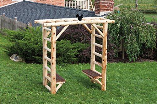 Cedar Log and Reclaimed Barn Wood SECRET GARDEN ARBOR with Benches - Cedar Stain