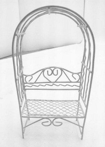 Hi-Line Gift 72201-04-WT Fairy Garden - Arbor with Bench - Off White