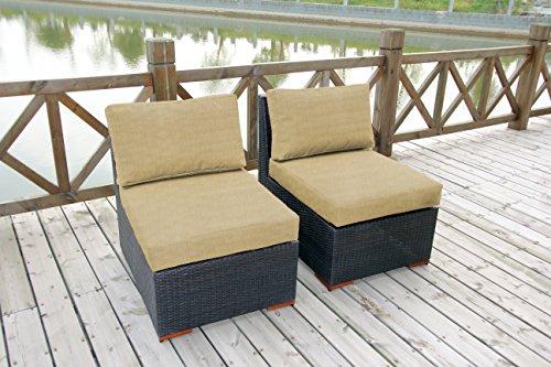 Bhg Cibo Armlessslipper Chair Featuring Sunbrella Fabric 2 Pack Canvas Heather Beige