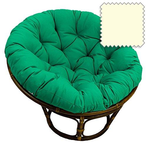 42-Inch Bali Rattan Papasan Chair with Cushion - Solid Twill Fabric Eggshell