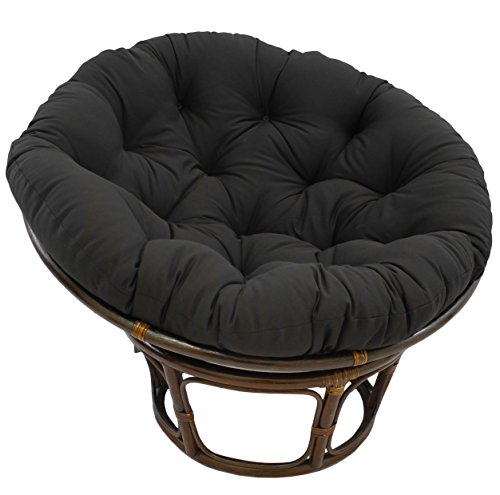 Blazing Needles Solid Twill Papasan Chair Cushion 44 x 6 x 44 Black