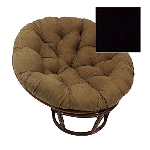 Rattan Papasan 42 Inch Chair with Cushion Black Microsuede