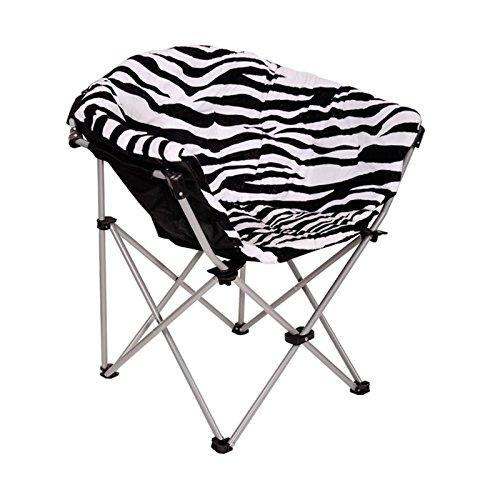 ECOLINEAR Folding Saucer Moon Chair Short Plush Faux Fur Padded Club Seat Zebra
