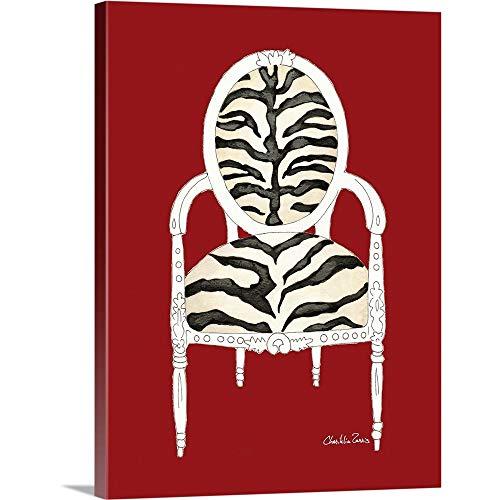 GREATBIGCANVAS Zebra Chair on Red Canvas Wall Art Print 12x16x15
