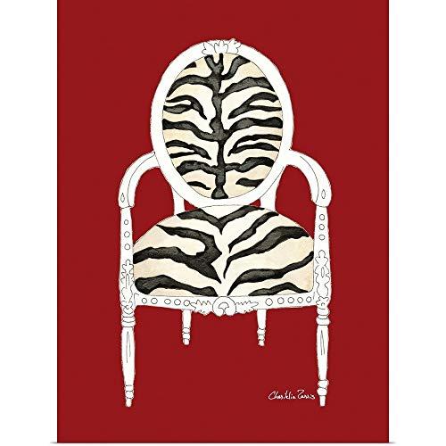 GREATBIGCANVAS Zebra Chair on Red Poster Print 30x40