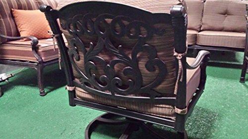 Mandalay Outdoor Patio 4 Swivel Rocker Club Chairs Cast Aluminum Dark Bronze sesame