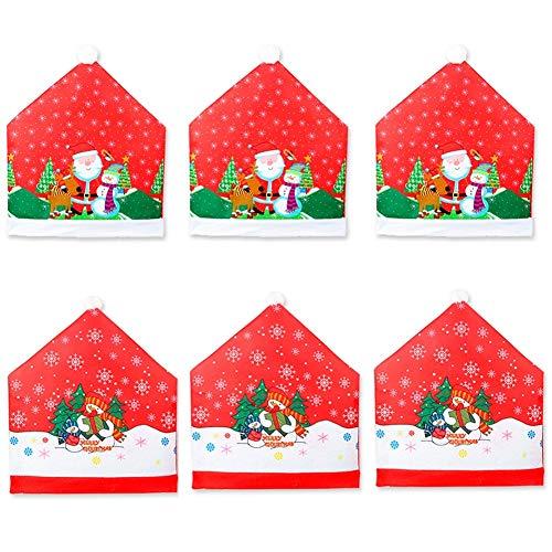 CheeseandU Christmas Chair Covers Set of 6 Santa Claus Snowman Printed Design Christmas Dining Chair Slipcovers Chair Back Covers Dining Room Hotel Xmas Holiday Party Decoration