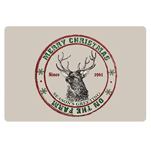 HUGS IDEA Merry Christmas Reindeer Pattern Indoor Entrance Entry Way Doormat Non Slip Rectangle Area Rugs for Kitchen Bedroom Living Room