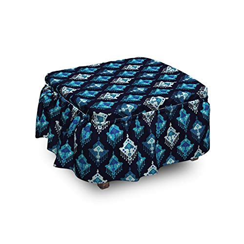 Lunarable Ethnic Ottoman Cover Bohemian Primitive Motifs 2 Piece Slipcover Set with Ruffle Skirt for Square Round Cube Footstool Decorative Home Accent Standard Size Sky Blue Night Blue
