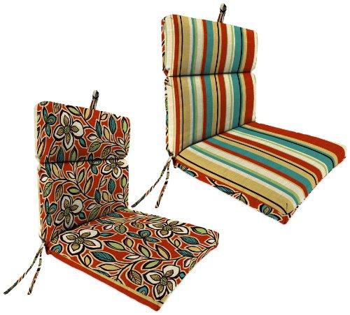 Jordan Manufacturing Reversible Outdoor Chair Cushion Ethan ScarletWyken Stripe Scarlet