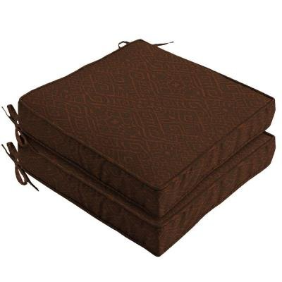 Hampton Bay Cayenne Ikat Outdoor Seat Cushion 2-pack