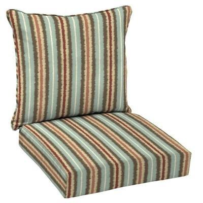 Hampton Bay Elaine Ikat Stripe 2-piece Outdoor Deep Seating Cushion