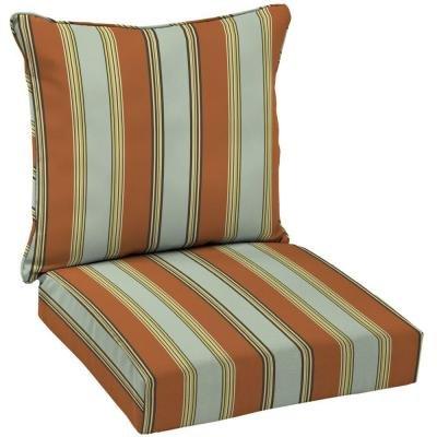 Hampton Bay Fontina Stripe Welted 2-Piece Pillow Back Outdoor Deep Seating Cushion Set