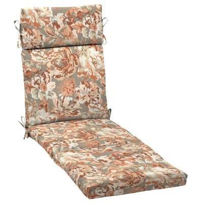 Hampton Bay Terracotta Floral Outdoor Chaise Cushion