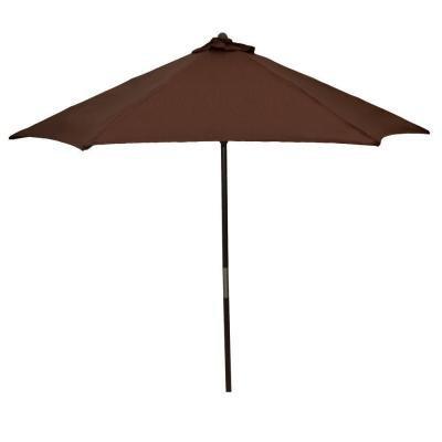 Hampton Bay Brown 9 ft Wood Patio Umbrella