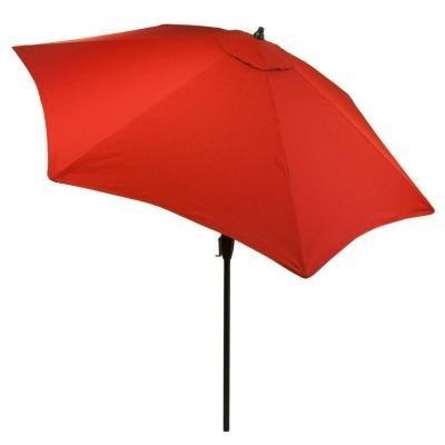 Hampton Bay Ruby Tweed 9 ft Aluminum Market Patio Umbrella with Push-Button Tilt