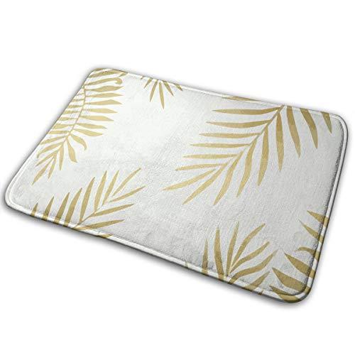 FTRGRAFE Yellow Gold Leaves Home Door Mat Super Absorbent Slide-Proof Front Floor MatSoft Coral Memory Foam Carpet Bathroom Rubber Entrance Rugs for Indoor Outdoor