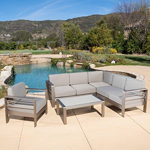 Allen Outdoor Silver Aluminum 5-piece Sofa Set with Cushions