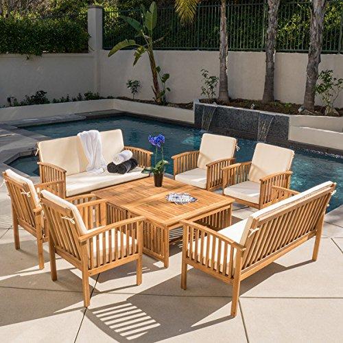 Christopher Knight Home Carolina 8-piece Outdoor Acacia Sofa Set with Cushions