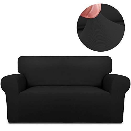 INMOZATA Stretch Spandex Sofa Slipcover 3 Cushion Couch Sofa Covers for Washable Furniture Protector Anti-Slip Sofa Slipcover with Anti-Skid Foam and Elastic Bottom for Living Room Sofa Black