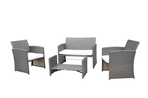 Radeway 4 Pc Cushioned Seat Outdoor Patio Set Rattan Wicker Sofa Weathered Brownish- Gray