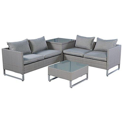 Tangkula 4pcs Gray Rattan Wicker Patio Sofa Cushion Seat Set Furniture Lawn Outdoor