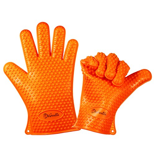 Vervetie Barbecue Gloves Heat Resistant Silicone Cooking Gloves for Grill BBQ - Oven Mitts Potholder for Kitchen Baking