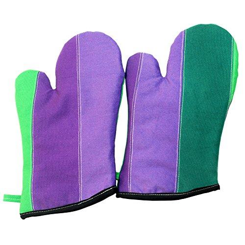 Tulip Garden Heat Resistant Canvas Patchwork Micro-Oven GlovesMitts 2-Pack