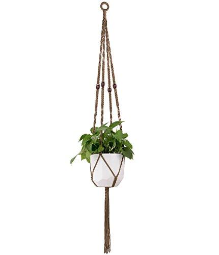 Mkono Macrame Plant Hanger Hanging Planter Basket Nylon Rope wth Beads 4 Legs 50 Inch