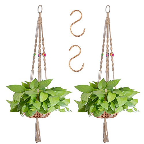 Zealor 55 Inches Plant Hanger Macrame Jute 4 Legs Plant Holder With Extra S Shaped Hooks Pack Of 2  With Colored