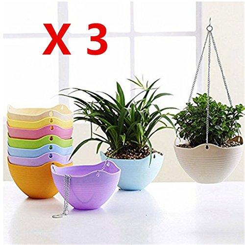 Kingbuy 3PCS Hanging Flower Plant Indoor Outdoor Basket Flower Pot Chain Basket Planter Holder Random color