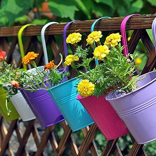 L 6 PCS Garden Decoration Supplies Iron Pastoral Balcony Pots Planters Wall Hanging Metal Bucket Flower Holders 6 Colors