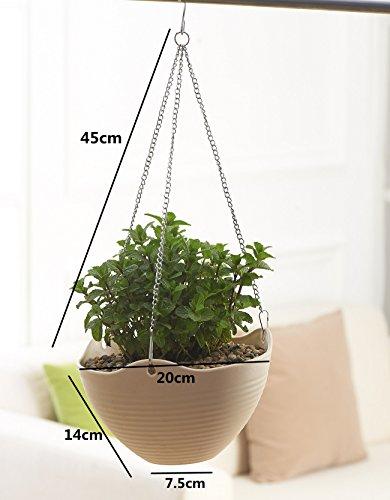 Hanging Flower Plant Pot Chain Plastic Planter Holder Indoor Outdoor Basket Gardening Garden Patio Home Decoration