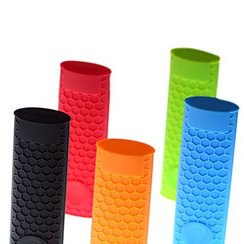 YouU Silicone Hot Handle Holder Potholder Rubber Pot Handle Sleeve Heat Resistant for Cast Iron Pans Metal Frying Pans Skillets Griddles- Red Orange GreenBlack Blue 5 Pcs
