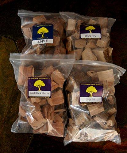 Jcs Smoking Wood Chunks - Premium 4 Pk Gallon Sized Bag Of Apple Hickory Pecan Wild Black Cherry