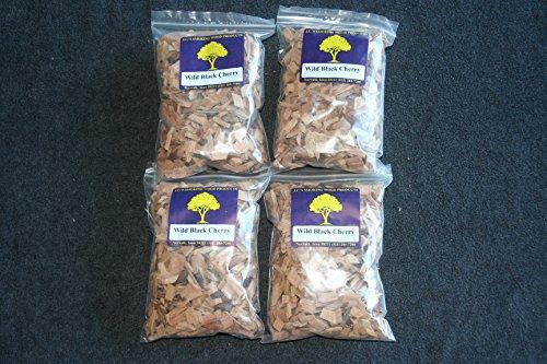JCs Smoking Wood Chips - 4 Pk - 65 Cu Inch Quart Bags of Wild Black Cherry