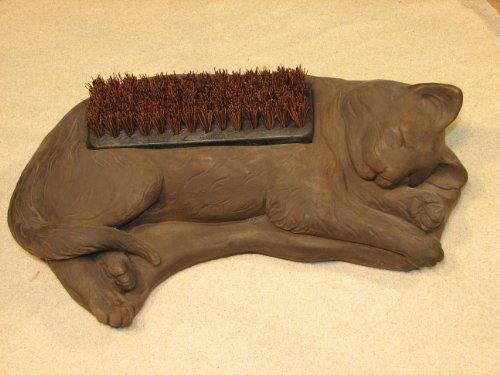 CAT BOOT BRUSH 155 KITTEN Shoe Scraper DARK BROWN STAIN CEMENT Outdoor Garden Doorway Decor