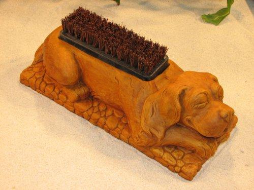 DOG BOOT BRUSH Concrete BURNT ORANGE STAIN 17 PUPPY SHOE SCRAPER CAST CEMENT Outdoor GARDEN