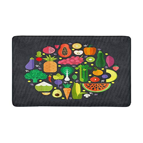 INTERESTPRINT Fresh Fruits Vegetables Doormat Rug Floor Mats Shoe Scraper Door Mat Non-Slip Home Decor Rubber Backing Large 30L x 18W