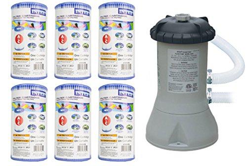 Intex 1000 GPH Easy Set Pool Filter Pump wGFCI 6 Type A Filter Cartridges