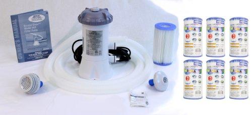 Intex 530 GPH Easy Set Pool Filter Pump w GFCI 6 Type A Filter Cartridges